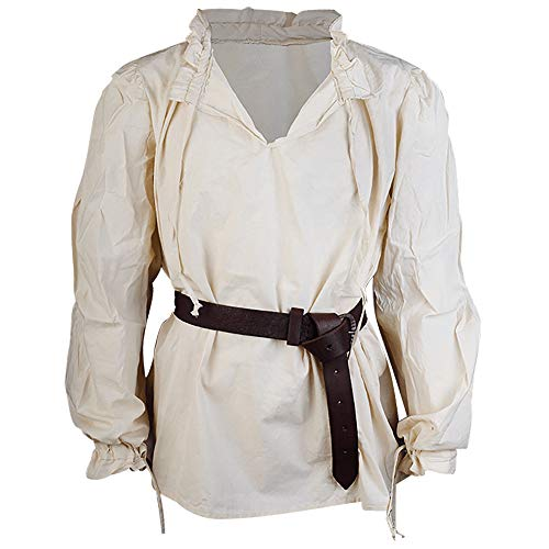 Mytholon Bastian Shirt Medieval Shirt Cosplay LARP Renaissance Shirt Pirate (Medium, Cream)