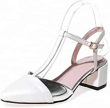 01fbdb8188b8 AmoonyFashion Women s Assorted Color Soft Material Kitten-Heels Buckle  Pointed-Toe Sandals