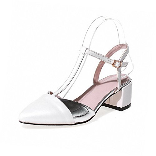 Amoonyfashion Kvinna Diverse Färg Mjuk Material Kattunge-klackar Spänne Spetsiga Sandaletter Vita