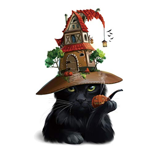 Halloween Room Themes (Ouniman Halloween Black Cat Wall Sticker Scary Wall Decal Window Decor Spooky Party Supplies Removable Wall Mural Stickers for Home Living Room Bedroom Decoration Halloween Theme Party)