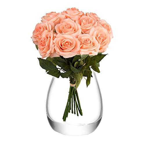 Feyarl 12-Piece 17.4inch Real Touch Artificial Flowers Roses (Vase Not (Not Artificial Roses)