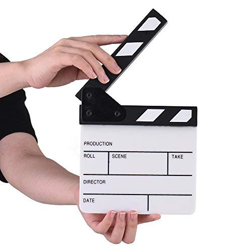Action Cut Board,Andoer Acrylic Clapboard Dry Erase Compact Size TV Film Movie Director Cut Action Scene Clapper Board Slate ()