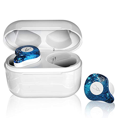 TWS True Wireless Earbuds Bluetooth Earphones Hi-Fi Stereo Headphone with 750mAh Charging Case Provide 24 Hour Playtime for Android iOS ice Blue