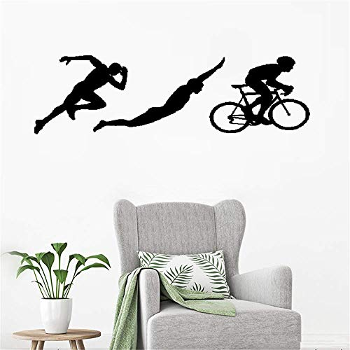 (ohoord Wall Decal Removable Quote Decor Design Decal Triathlon Sports Silhouettes Athlete Running Swimming Cycling for Gym)