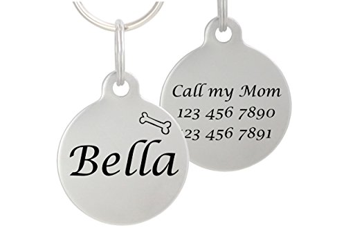 Double Sided Laser Etched Stainless Steel Pet ID Tag for Dog and Cat Engraved and Personalized 1 Round Shape (Bone)