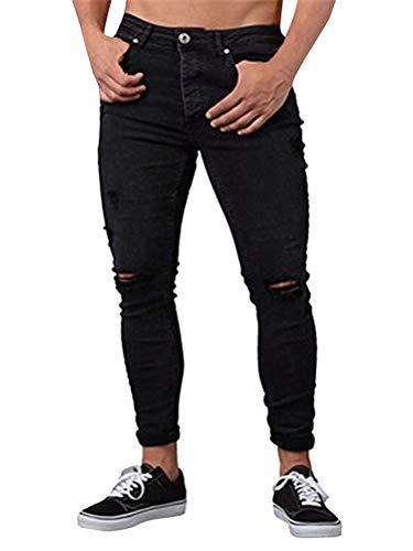 Desgarrados Mezclilla Mezclilla Negro Deshilachados Pitillo Pantalones Elásticos Vaqueros Hombre de Angustiados Minetom Pantalones de Pantalones wBFUPqWgxS