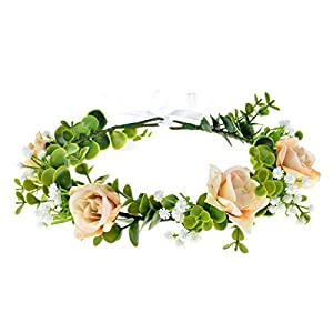 Love Sweety Succulent Flower Crown Rose Headband Greenery Artificial Orchid Leaf Halo Wedding (Rose Champagne) 101