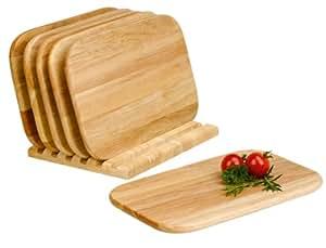 Domestic 906245 - Tablas para cortar pequeñas con soporte (7 piezas), madera clara