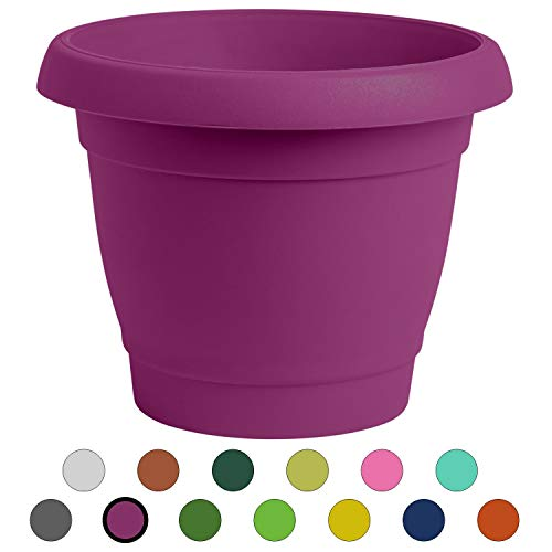 ALMI Carmel Round Planter 9 Inch, Plastic Rounded Pot for Garden, Elegant Shaped Flower Tree, Tapered Planters for Plants, Small Trees,UV Resistant Paint, Indoor Outdoor – Purple