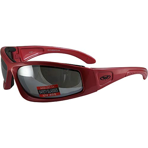 Global Vision Triumphant 1 Padded Motorcycle Sunglasses Gloss Red Frames Flash Mirror Lenses ANSI Z87+