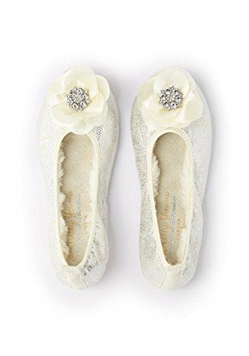 Pretty You London Women's Ballerina Slipper with Flower, Large (8-9), White