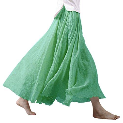 Matcha pour lin et lastique en paisseur longue Green femme maxi coton Jupe Jupe Taille double Nlife q60wfn