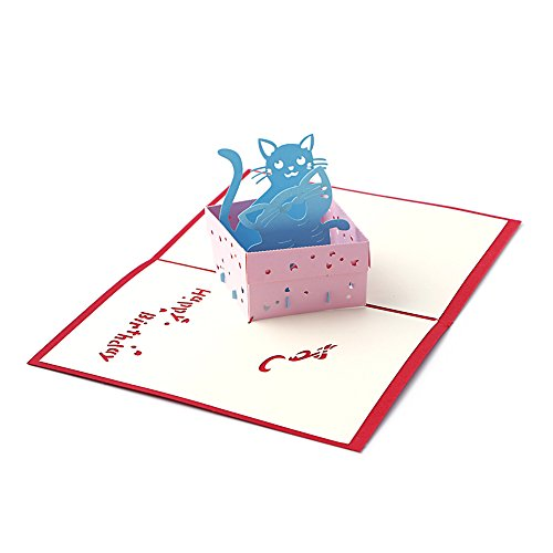 [Arich 3D Pop UP Holiday Greeting Cards Valentine's Day Happy Birthday Gift--Cat] (Cat Valentine Greeting Cards)