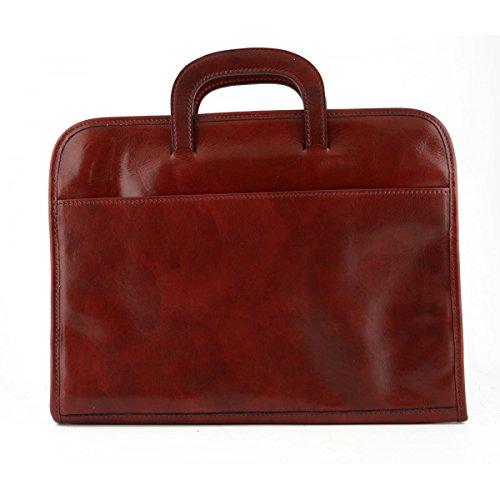 Porte-documents A4 En Cuir Véritable 3 Compartiments Couleur Rouge - Maroquinerie Fait En Italie - Cartable