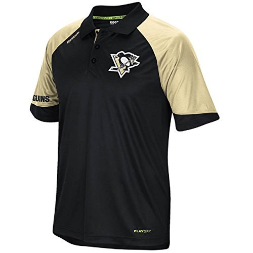 Reebok NHL Pittsburgh Penguins Black Center Ice PlayDry Synthetic Polo Shirt