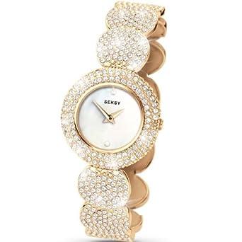 Seksy Elegance Von Sekonda Damenuhr – weiß Perlmutt Zifferblatt – SWAROVSKI® Kristall – Edelstahl Gold Armband – 4857