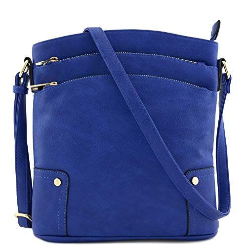 - Triple Zip Pocket Large Crossbody Bag (Royal Blue)