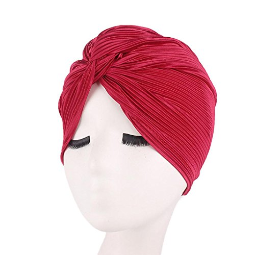 SUKEQ Womens Pleated Ruffle Stretch Turban Hat Muslim Chemo Cap Hair Wrap Cover Up Sun Cap Head Scarf (Wine)