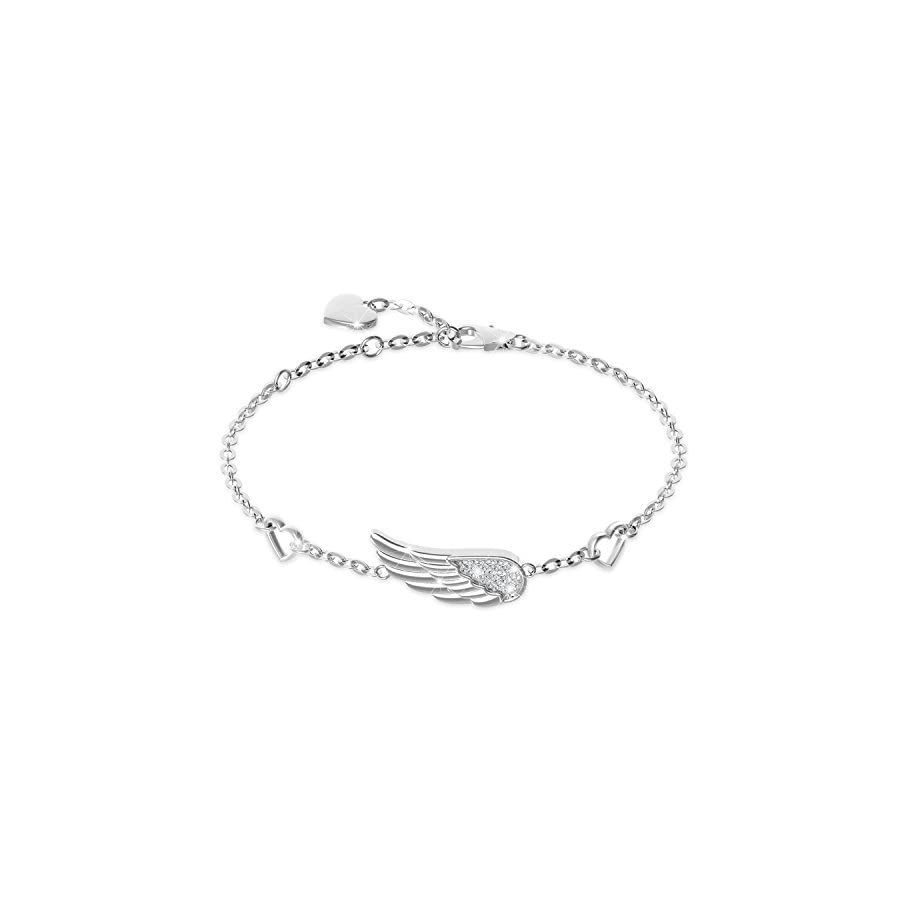 Billie Bijoux 925 Sterling Silver Women Angel Wing Adjustable Chain Bracelet Diamond White Gold Plated Bracelet Women Gift for Women Girls Valentine's Day (Style 1)