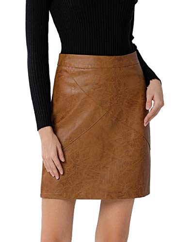 GUANYY Women's Faux Leather Vintage High Waist Classic Slim Mini Pencil Skirt(Brown,Small)