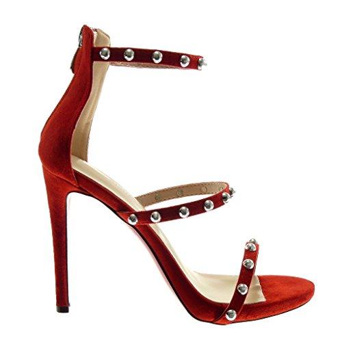 cm Stiletto Angkorly Clouté Femme Sandale Rouge Talon Lanière Cheville Mode Aiguille 11 Chaussure Haut Perle Escarpin Lanière rIqwZTI