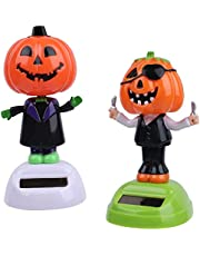 2pcs Solar Toy Doll Dancing Figure Toy Car Dashboard Dancer Figurine Decoration Ornament for Halloween Trick or Treat Party Car Office Desk Home Decoration