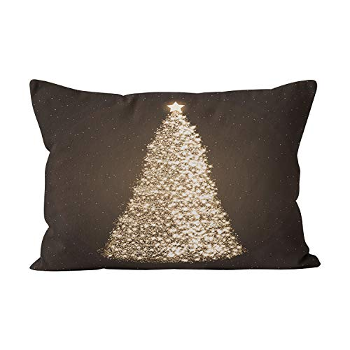 Suklly Elegant Gold Christmas Tree Brown Cute Hidden Zipper Home Decorative Rectangle Throw Pillow Cover Cushion Case 20x26 Inch Standard One Side Design Printed ()