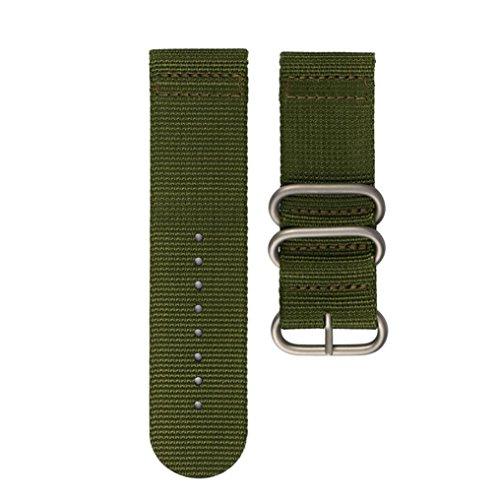 Hanaturu 時計ベルト 26mm 替えバンド 高品質ナトータイプ ナイロン ベルト 時計用 長さ220mm ブラック グレー グリン 3色選べ「シルバーバックル」