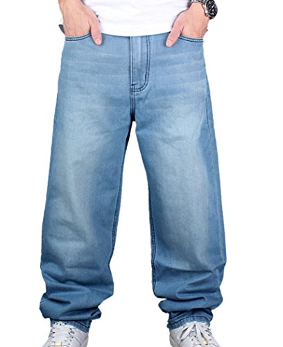 Men's Hip-hop Washed Baggy Denim Jeans Light Blue 44