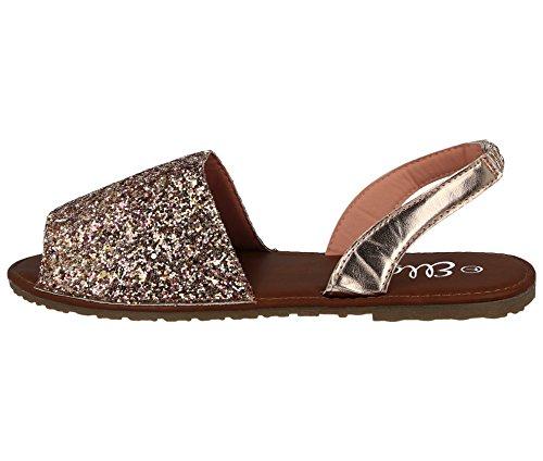 Ella Ladies Menorcan Sling Back Open Toe Flat Spanish Summer Sandals Size 3-8 Rose Gold/Glitter a7No2SDOJ