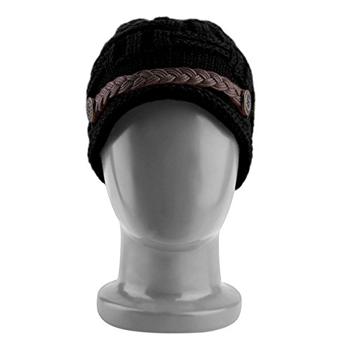 Slouchy Autumn Winter Lady Baggy Beanie Knit Crochet Hat Faux Leather Decor ()