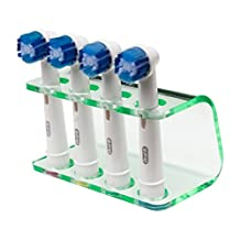 Seemii Electric Toothbrush Holder for Oral B Heads, Holds 2 or 4 Toothbrush Heads, Clear Green Acrylic (4 Head Holder)