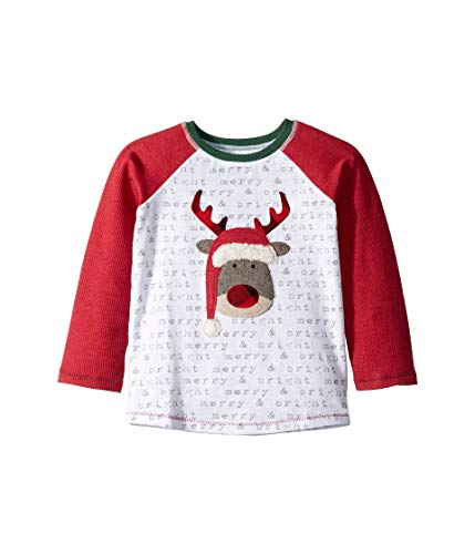 (Mud Pie Baby Boy's Reindeer Long Sleeve Raglan Christmas T-Shirt (Infant/Toddler) White Small)