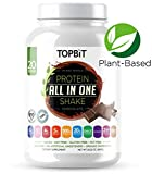 TOPBiT All-in-One Plant Based Protein Powder, Chocolate – Vegan Certified Protein Blend, Sugar Free, Stevia Free, Nut Free, Soy Free, 20g Protein, Probiotics, Vitamins, BCAA, Greens, Fiber, 1.8LB