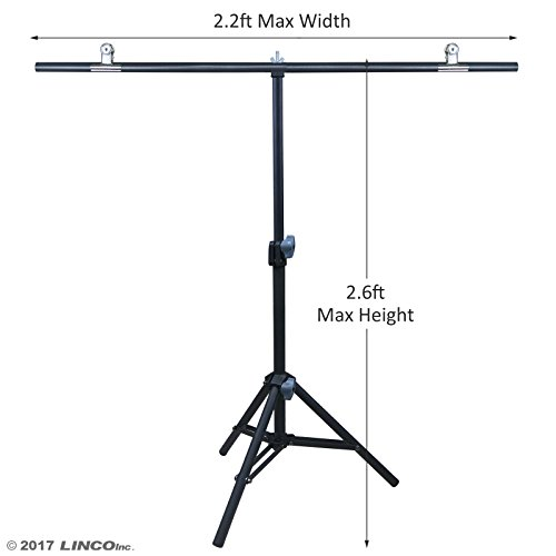 Linco Lincostore Photography PVC Backdrop Background Small Support Stand System Metal 2.2ft Wide 2.6ft High by Linco