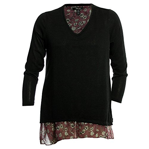 Style & Co. Womens Plus Layered Floral Print Blouse Black 0X (Co Tunic Style & . Spandex)