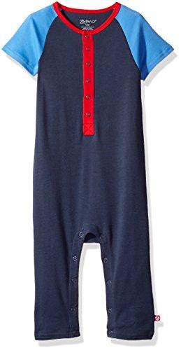 Zutano Baby Boys' Raglan Short Sleeve Suit, Navy, 18M (12-18 Months)