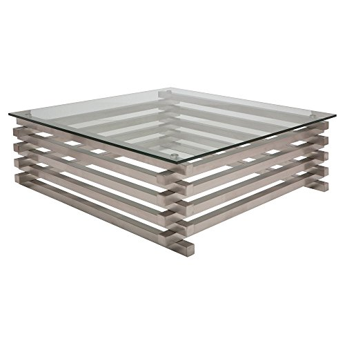 Nuevo Stacked Square Glass Top Coffee Table - Silver