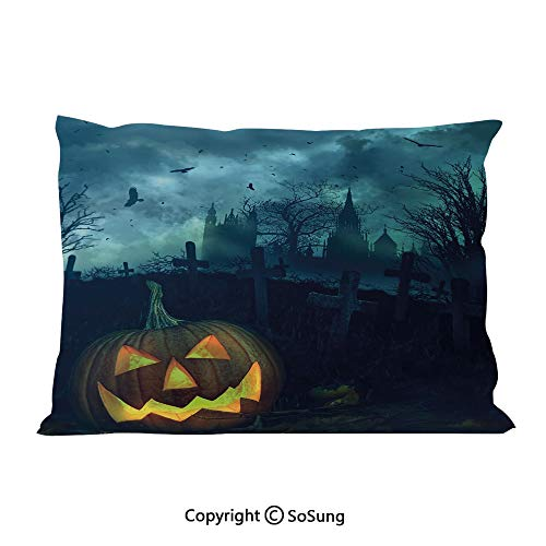 Halloween Bed Pillow Case/Shams Set of 2,Halloween Pumpkin in Spooky Graveyard Eerie Gloomy Stormy Atmosphere King Size Without Insert (2 Pack Pillowcase 36