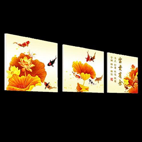 壁掛け アートパネル 【AP007 和柄 鯉 花 60×60㎝×3パネルセット】厚地25㎜キャンバス 印刷布製 キャンバスアート 壁飾り B07DR5Z6L2 16788 25mm厚地キャンバス|60×60㎝ 60×60㎝ 25mm厚地キャンバス