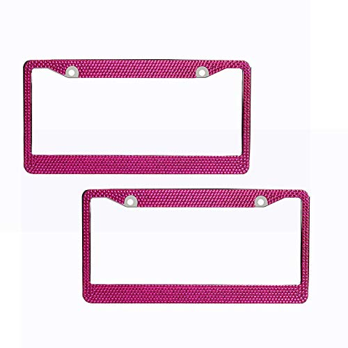 EveryPossible 2 Pink Bling Glitter Crystal Rhinestone License Plate Frame Car Auto]()