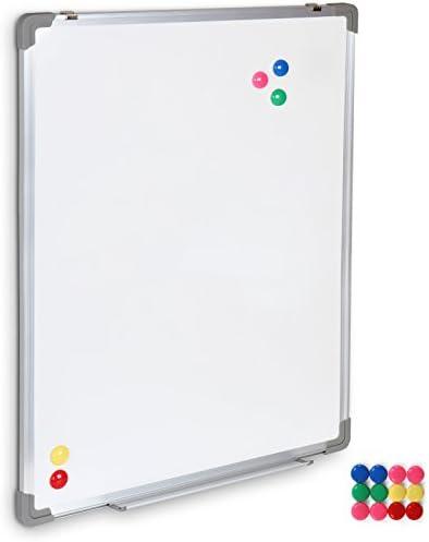 Whiteboard 60x80 cm - magnetisch, beschreibbar, Set inkl. Marker, Schwamm, Alurahmen, Stiftablage, Weiß - Magnettafel, Magnetwand, Magnetboard