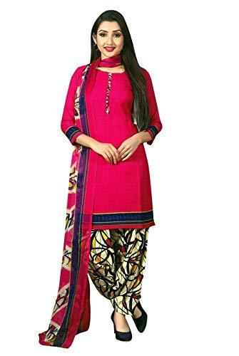 Ladyline Ready to wear French Crepe Printed Salwar Kameez Suit Indian Pakistani Dress (Size_36/ Rani-Pink)