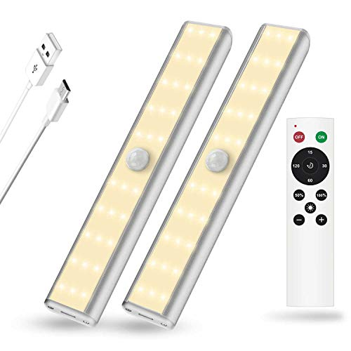 Price comparison product image SZOKLED Under Cabinet Lighting Remote Control 30LED Rechargeable Shelf Lighting,  Wireless Closet Lights Bar with Magnetic Strip,  Dimmable Under Counter Light Stick on Anywhere,  2-Pack,  Warm White