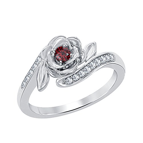 Beautiful 0.25ctw Disney Belles 925 Sterling Silver Plated Created Red Garnet & White CZ Fashion Ring-Flower Ring - Garnet Sterling Silver Designer Ring