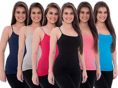Unique Styles 6 Pack Women's Tanks Tops Adjustable Spaghetti Strap Cotton Cami