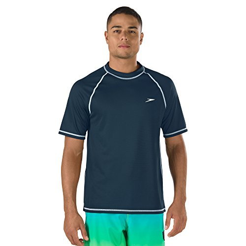 Speed Men's Short Sleeve Easy Rash Guard Swim Shirt with UV and UPF 50+ Protection, New Navy, 2XL