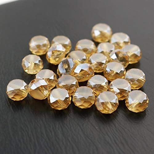 Calvas Wholesale 70pcs/lot 10mm Gold Champagne Crystal Faceted Beads Glass Flat Round Spacer Charm Beads for Jewelry Craft DIY Making