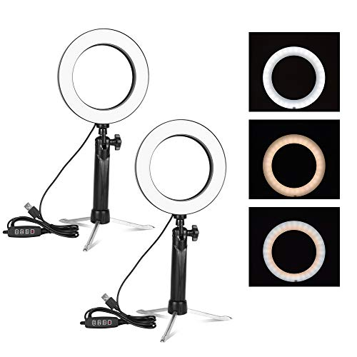 Emart 6'' LED Ring Light with Tripod Stand, 3 Light Modes & 11 Brightness Level Photography Continuous Portable Lighting Kit for Table Top Photo Video Studio - 2 Sets (Best Desktop Computer For Photography)