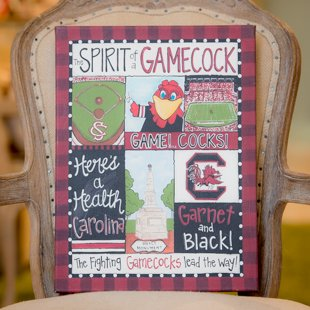 Glory Haus South Carolina Spirit Canvas Wall Art, 12 by 16-Inch ()